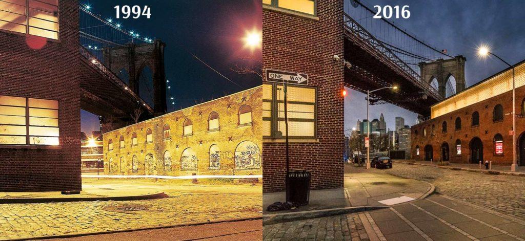 Zwei Bilder von der Brooklyn Bridge nebeneinander gestellt. Das Erste aufgenommen 1994, das Zweite von 2016.