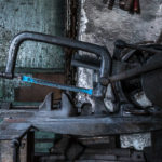 Eisensäge mit Schraubstock